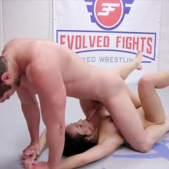 Victor dominates the loser - Evolved Fights – Brad Sterling and Crystal Rush - Little point in wrestling